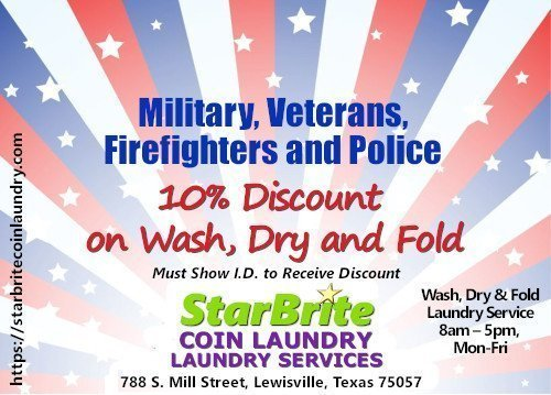 StarBrite Coin Laundry Wash and Fold Service, Lewisville TX - Military, Police, Firefighter Discount - Wash and Fold